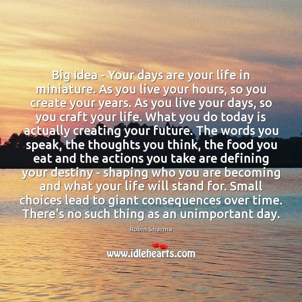 Image, Big Idea – Your days are your life in miniature. As you