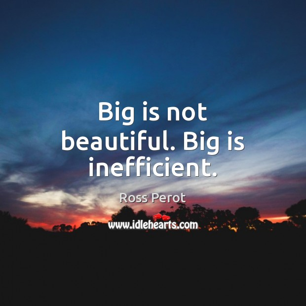 Big is not beautiful. Big is inefficient. Ross Perot Picture Quote