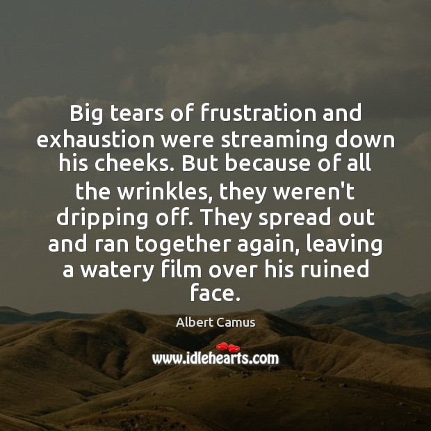 Big tears of frustration and exhaustion were streaming down his cheeks. But Albert Camus Picture Quote