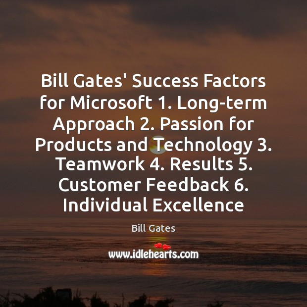 Bill Gates' Success Factors for Microsoft 1. Long-term Approach 2. Passion for Products and Bill Gates Picture Quote