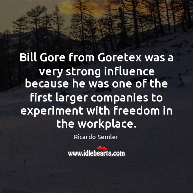 Bill Gore from Goretex was a very strong influence because he was Image