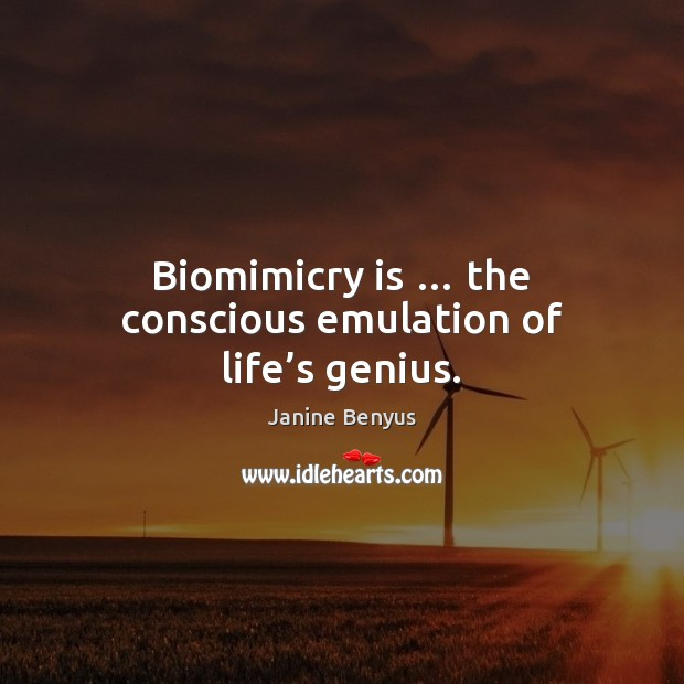 Biomimicry is … the conscious emulation of life's genius. Image
