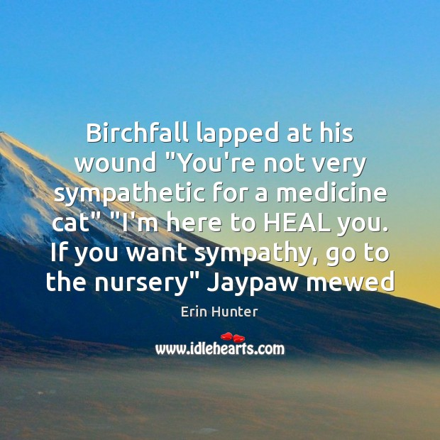 "Birchfall lapped at his wound ""You're not very sympathetic for a medicine Erin Hunter Picture Quote"