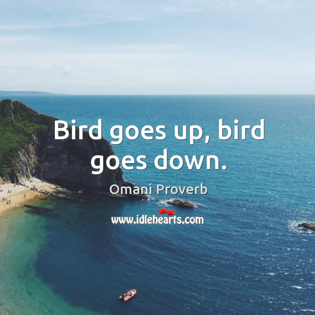 Bird goes up, bird goes down. Omani Proverbs Image