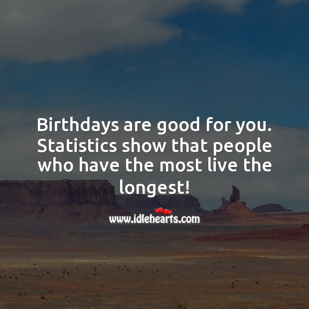 Birthdays are good for you. Funny Birthday Messages Image