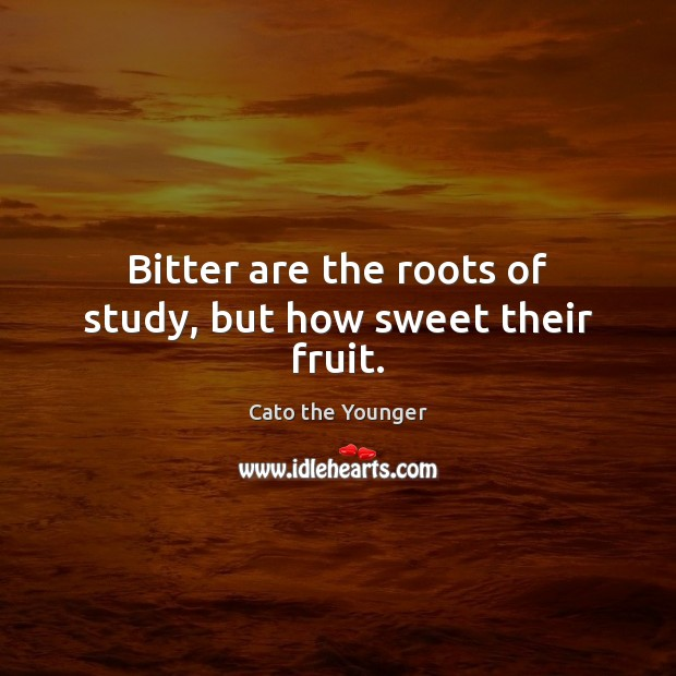 Image, Bitter are the roots of study, but how sweet their fruit.