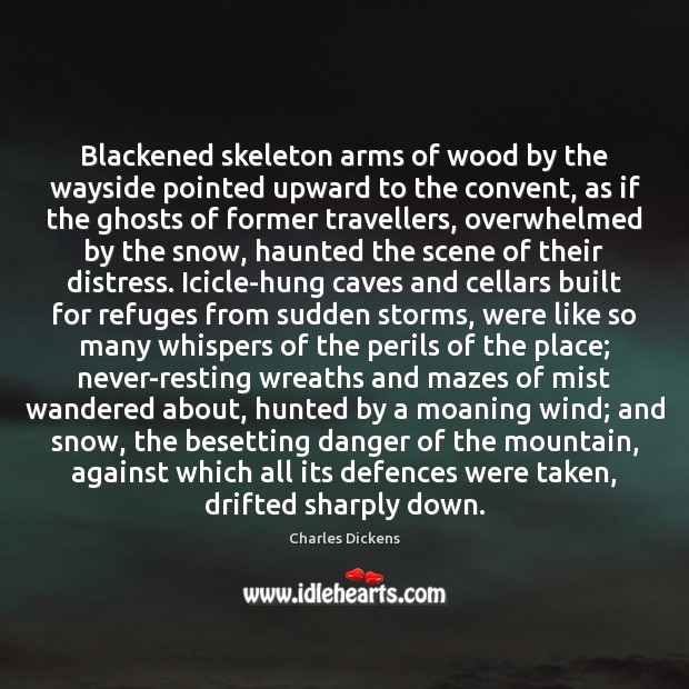 Image, Blackened skeleton arms of wood by the wayside pointed upward to the