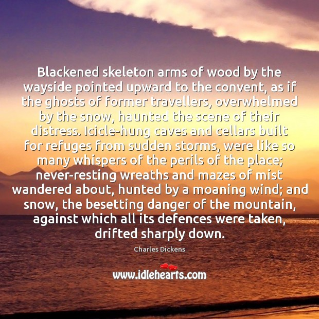 Blackened skeleton arms of wood by the wayside pointed upward to the Image