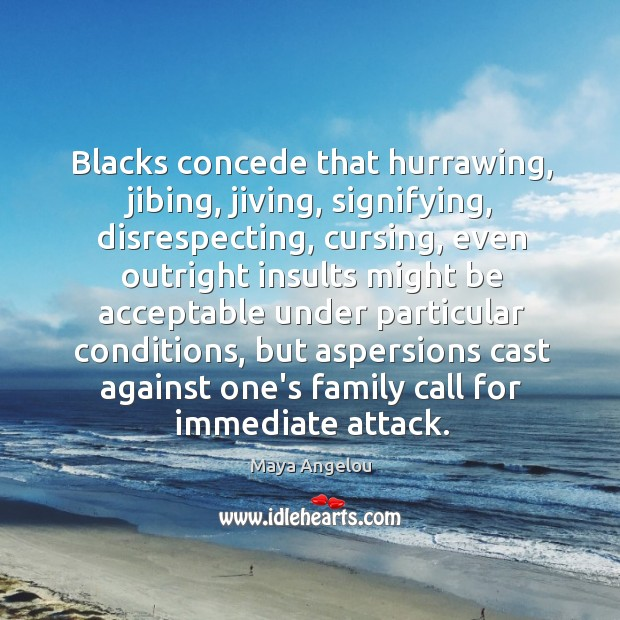 Image, Blacks concede that hurrawing, jibing, jiving, signifying, disrespecting, cursing, even outright insults