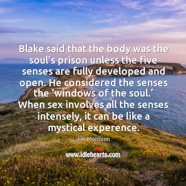 Image, Blake said that the body was the soul's prison unless the five senses are fully developed and open.