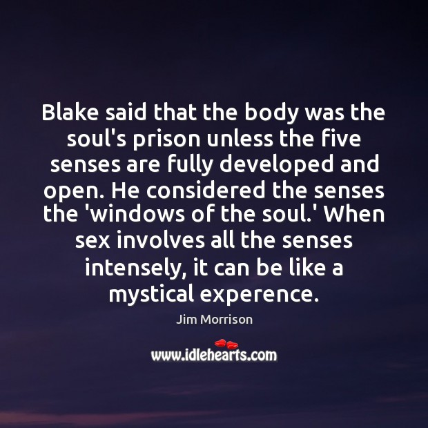 Image, Blake said that the body was the soul's prison unless the five