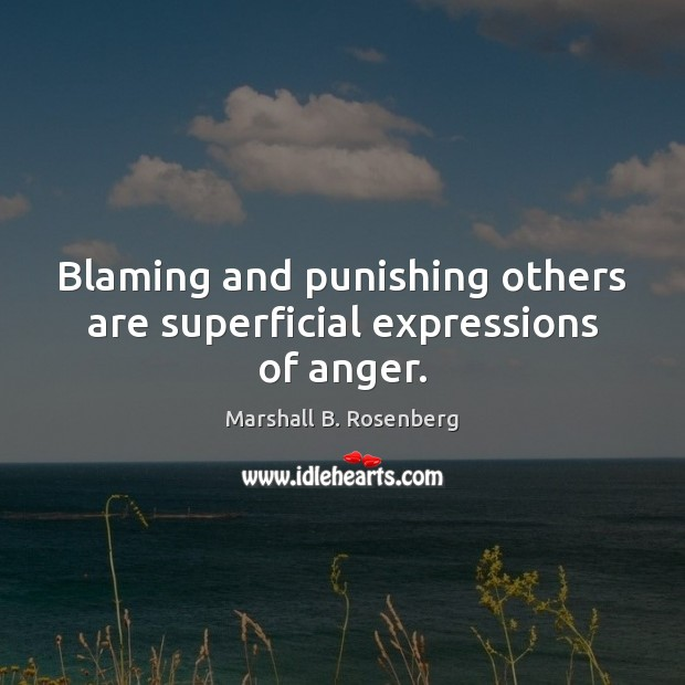 Blaming and punishing others are superficial expressions of anger. Image