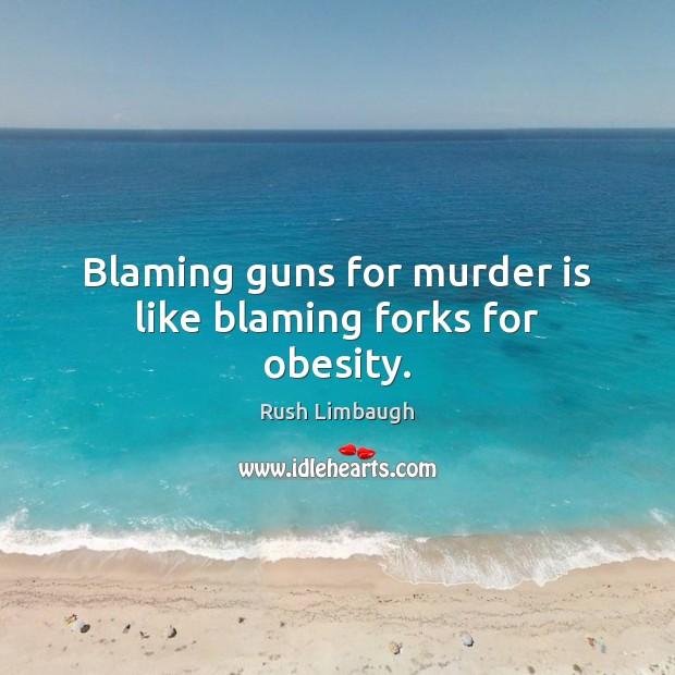 Blaming guns for murder is like blaming forks for obesity. Image