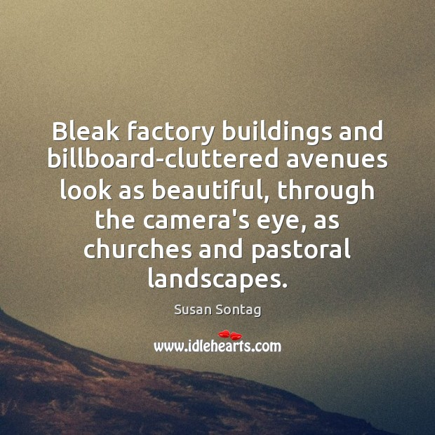 Bleak factory buildings and billboard-cluttered avenues look as beautiful, through the camera's Image