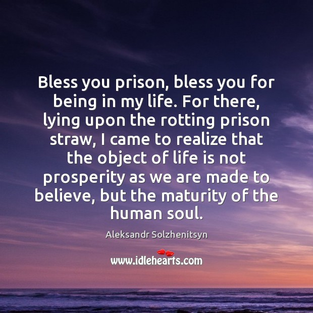 Image, Bless you prison, bless you for being in my life. For there,