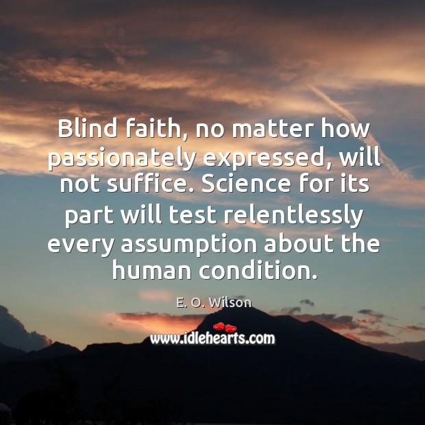 Image, Blind faith, no matter how passionately expressed, will not suffice.