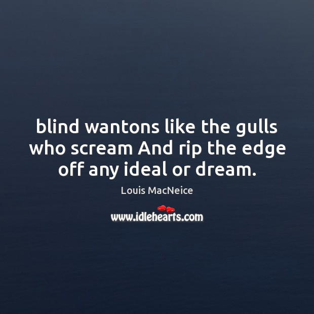 Blind wantons like the gulls who scream And rip the edge off any ideal or dream. Image