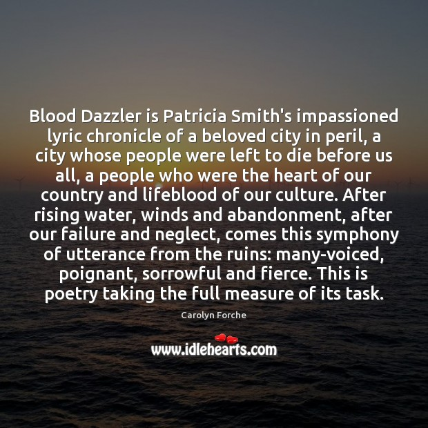 Image, Blood Dazzler is Patricia Smith's impassioned lyric chronicle of a beloved city