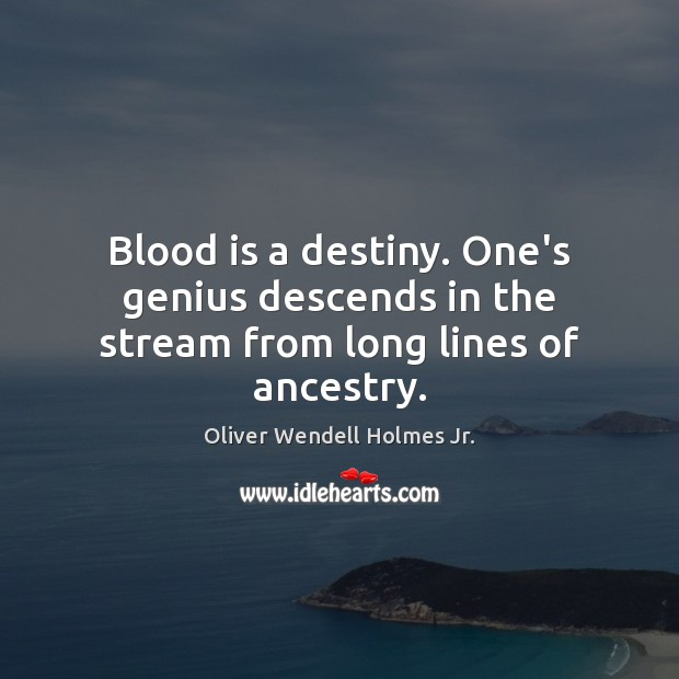 Blood is a destiny. One's genius descends in the stream from long lines of ancestry. Oliver Wendell Holmes Jr. Picture Quote