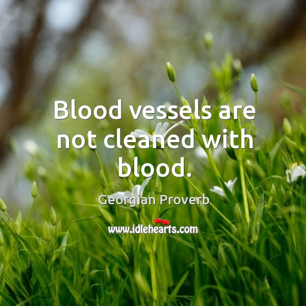 Blood vessels are not cleaned with blood. Georgian Proverbs Image