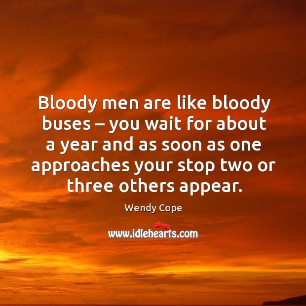 Bloody men are like bloody buses – you wait for about a year and as soon as one approaches your stop two or three others appear. Image