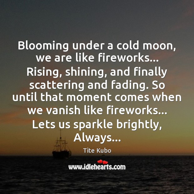 Image, Blooming under a cold moon, we are like fireworks… Rising, shining, and