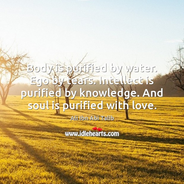 Image, Body is purified by water. Ego by tears. Intellect is purified by