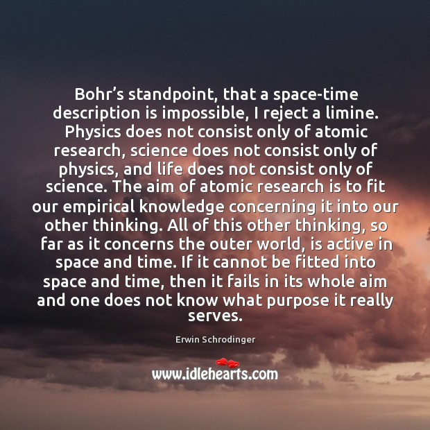 Bohr's standpoint, that a space-time description is impossible, I reject a Erwin Schrodinger Picture Quote