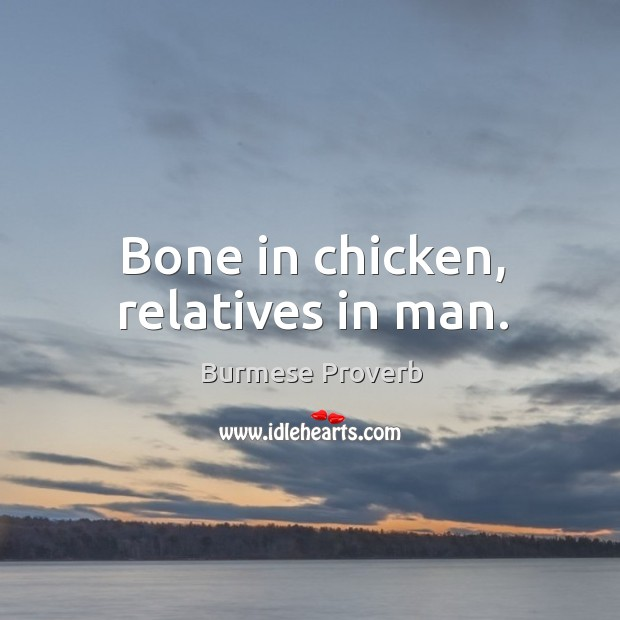 Bone in chicken, relatives in man. Burmese Proverbs Image