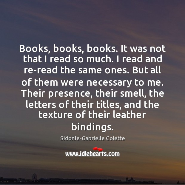 Books, books, books. It was not that I read so much. I Sidonie-Gabrielle Colette Picture Quote