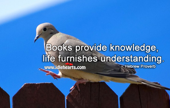 Books provide knowledge, life furnishes understanding. Hebrew Proverbs Image