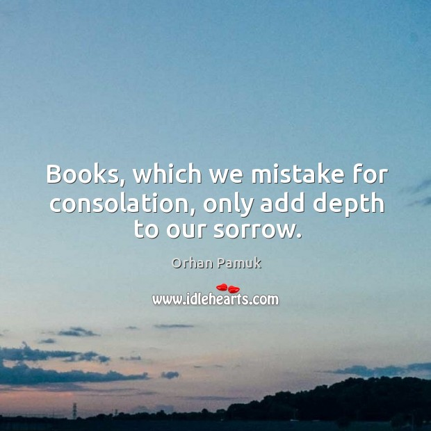 Books, which we mistake for consolation, only add depth to our sorrow. Image