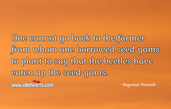 One cannot go back to the farmer from whom one borrowed seed-yams to plant to say that the beetles have eaten up the seed-yams. Nigerian Proverbs Image