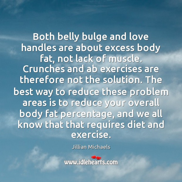 Both belly bulge and love handles are about excess body fat, not Jillian Michaels Picture Quote