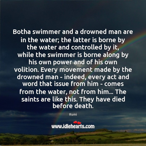 Image, Botha swimmer and a drowned man are in the water; the latter