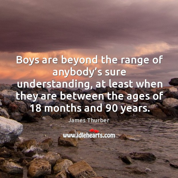 Boys are beyond the range of anybody's sure understanding Image