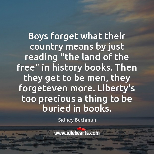 "Boys forget what their country means by just reading ""the land of Image"