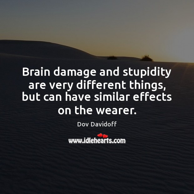 Brain damage and stupidity are very different things, but can have similar Dov Davidoff Picture Quote