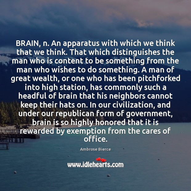 BRAIN, n. An apparatus with which we think that we think. That Image