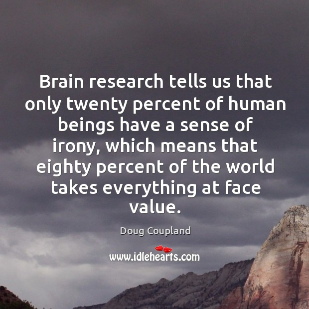 Brain research tells us that only twenty percent of human beings have a sense of irony Image