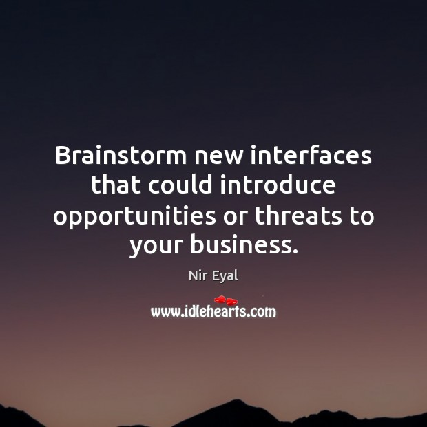 Brainstorm new interfaces that could introduce opportunities or threats to your business. Image