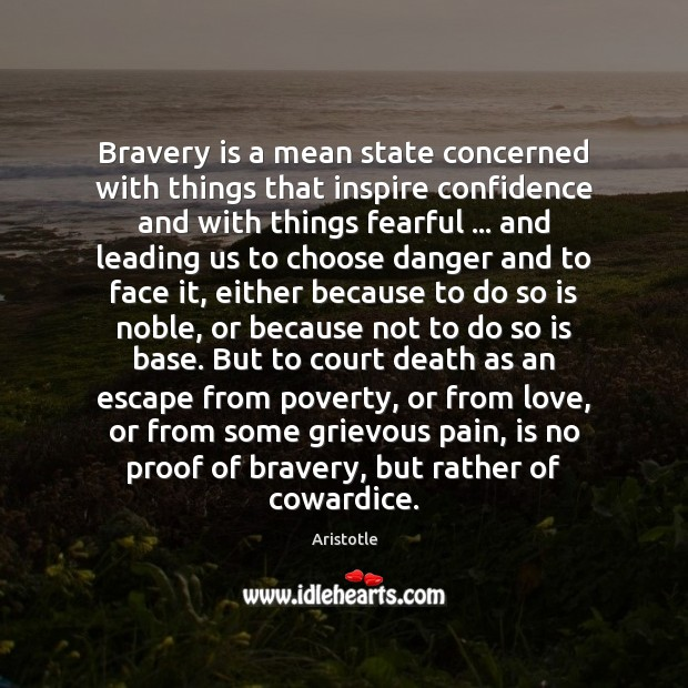Image, Bravery is a mean state concerned with things that inspire confidence and