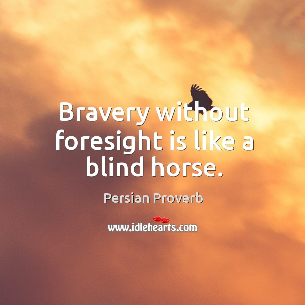 Bravery without foresight is like a blind horse. Persian Proverbs Image