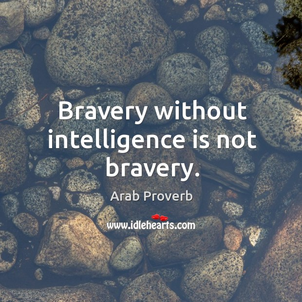 Bravery without intelligence is not bravery. Arab Proverbs Image