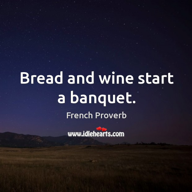 Image, Bread and wine start a banquet.