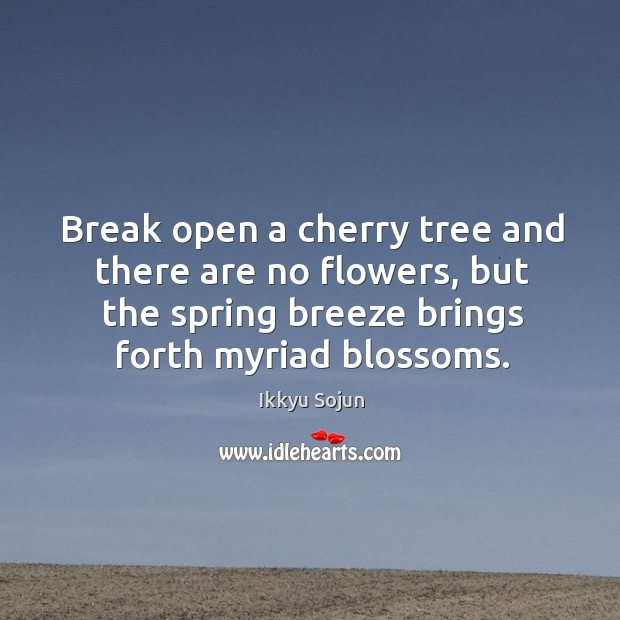 Break open a cherry tree and there are no flowers, but the spring breeze brings forth myriad blossoms. Image