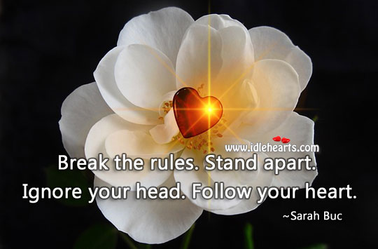 Break the rules. Stand apart. Ignore your head. Follow your heart. Image