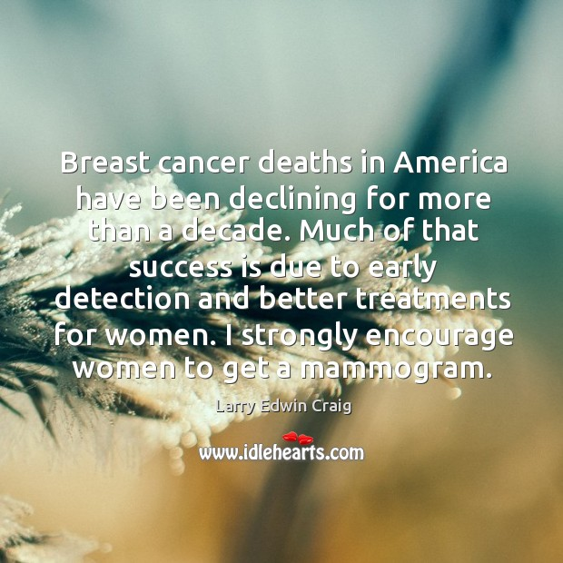 Image, Breast cancer deaths in america have been declining for more than a decade.