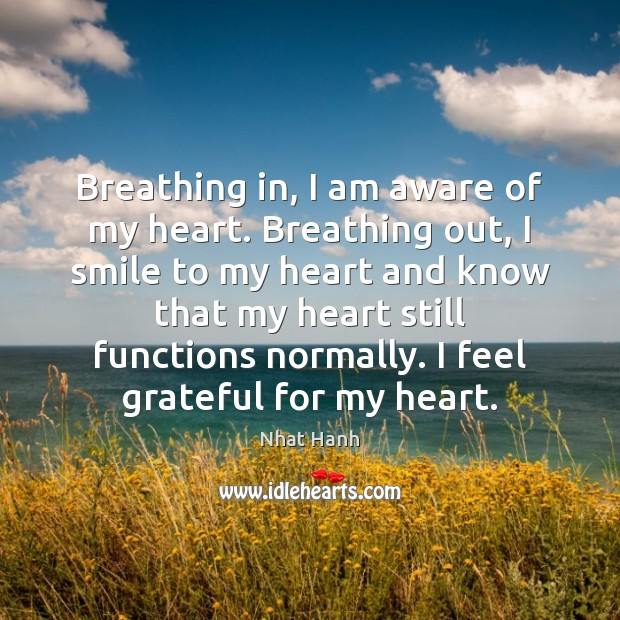 Image, Breathing in, I am aware of my heart. Breathing out, I smile