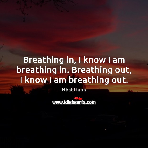 Breathing in, I know I am breathing in. Breathing out, I know I am breathing out. Nhat Hanh Picture Quote